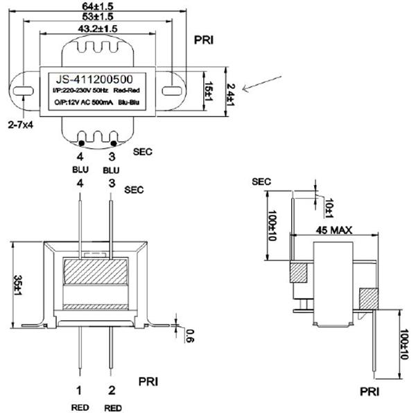 批发中国制造rohs功率电源变压器220v 12v